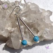 Larimar Silver Tube Earrings